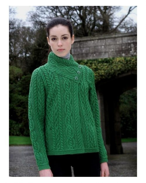 897f79fe17d 3 BUTTON ARAN CROSS OVER NECK JACKET (JB3) - Aran Islands Sweaters